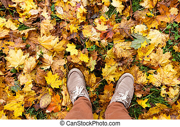 feet of a man standing on golden fallen leaves first person view