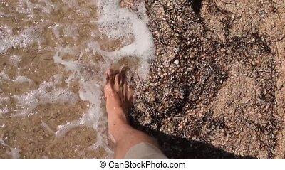 Feet of a man walking barefoot on sandy beach in slow motion...