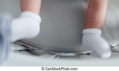 feet of baby socks lying
