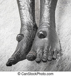 Feet of Jesus Christ in the Holy Cross