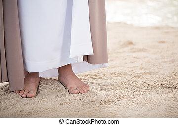 Feet of Jesus on sand - Feet of Jesus Christ standing on ...