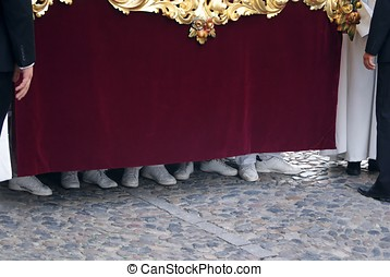 Feet of Nazarenes in the Procession