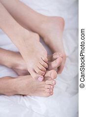 Feet of romantic couple