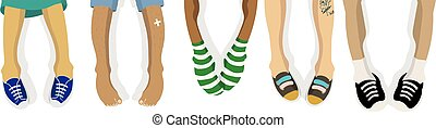 Vector illustration of hanging the feet of the people