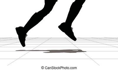 Feet of the running sportsman. Black on white.