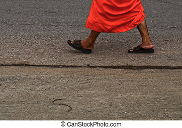 Feet of walking monks
