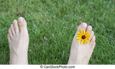 Feet of woman on grass with yellow flower on meadow