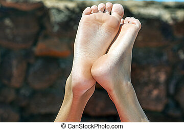 Feet Of Young Boy