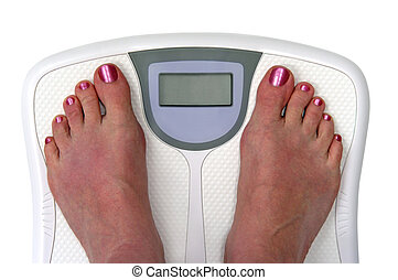Feet on a bathroom scale. Sceen is blank so you can enter ...