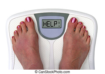 Feet on a bathroom scale with the word help! on the screen. ...
