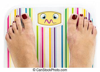 Feet on bathroom scale with overwhelmed cute face on dial