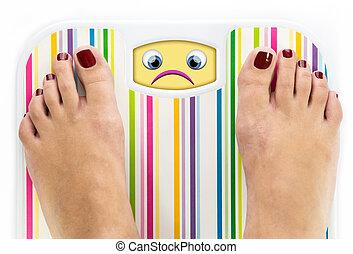 Feet on bathroom scale with sad cute face on dial