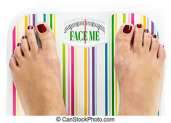 """Feet on bathroom scale with words """"Face me"""" on dial"""