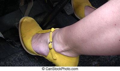 Feet on Car Pedals - Canon HV30. HD 16:9 1920 x 1080 @ 25.00...