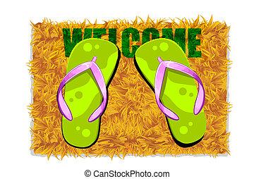Feet on Door Mat - illustration of pair of feet on door mat...