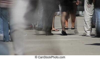 Feet on Sidewalk Time Lapse