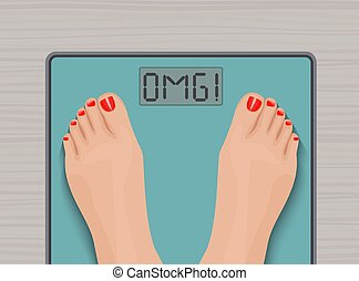 Feet on weighing scales. top view. Health concept.