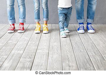 feet, sneakers, barwny, ludzie