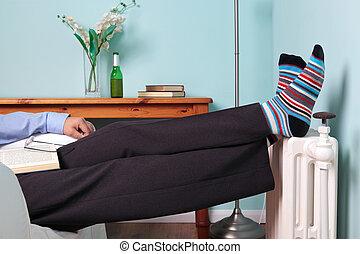 Feet up relaxing