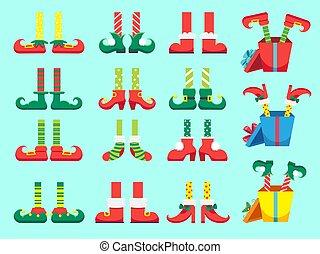 feet., vector, duendes, santa, shoes, regalos, claus, navidad, aislado, pie, ayudantes, pierna, conjunto, navidad, duende, enano, presente, pants.