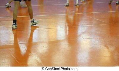 feet, volleyball., szczelnie-do góry, wyścigi, gracze