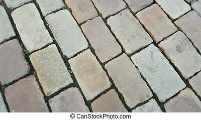 Feet walking on the tile POV - Vintage tile, pov, aerial...
