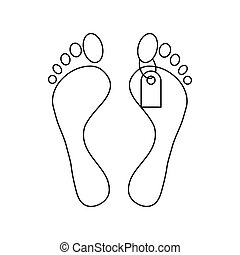 Feet with a tag icon, outline style