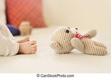 feet, zamknięcie, niemowlę, do góry