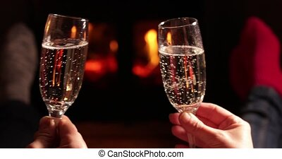 Feet&Fire - Close Up Of Romantic Couple Making A Toast With...