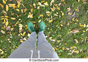 Feets on a green meadow with autumn leaves