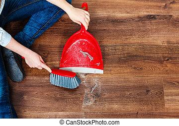 Abbildung von wischen boden h lzern besen kehrblech for Boden putzen