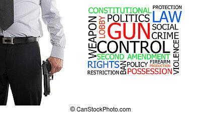 fegyveres, ember, mellett, pisztoly irányít, szó, felhő