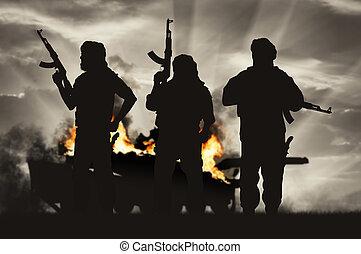 fegyveres, harckocsi, égető, terrorista