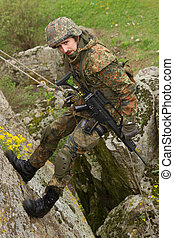 fegyveres, katona, rappeling