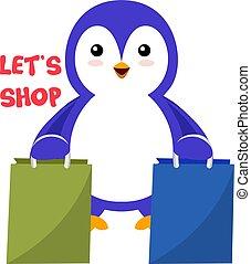 fehér, ábra, pingvin, pantalló, bevásárlás, vektor, háttér.