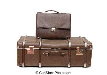 fehér, öreg, elszigetelt, halom, bőrönd