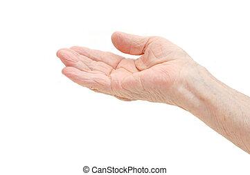 fehér, öreg, háttér, kéz