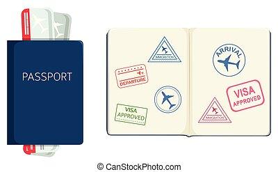 fehér, útlevél, háttér
