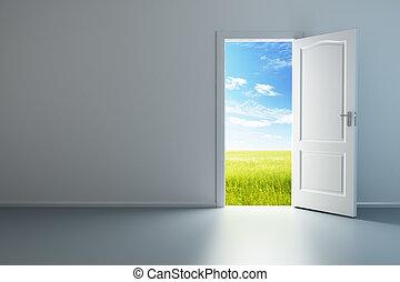 fehér, üres szoba, noha, kinyitott, ajtó