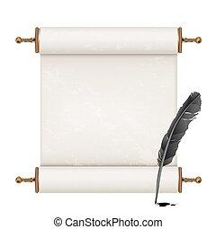 fehér, ősi, fekete, tollazat, felcsavar