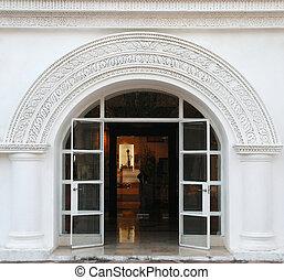 fehér, ajtó, bolthajtás, klasszikus