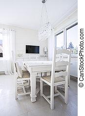 fehér, asztal, alatt, ebédlő