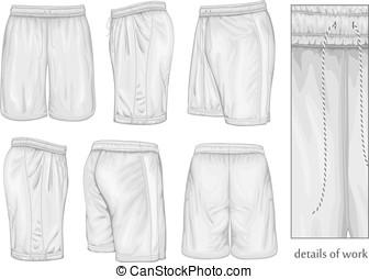fehér, bábu, sport, shorts.
