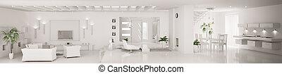 fehér, belső, közül, modern, szoba, panoráma, 3, render