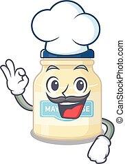 fehér, betű, kalap, dolgozó, séf, karikatúra, fárasztó, majonéz