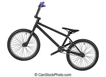 fehér, bicikli, elszigetelt, háttér