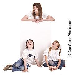 fehér, boldog, banner., család