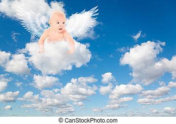 fehér, bolyhos, elhomályosul, alatt, kék, sky., háttér, alapján, clouds.