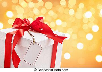 fehér, címke, christmas ajándék, tiszta