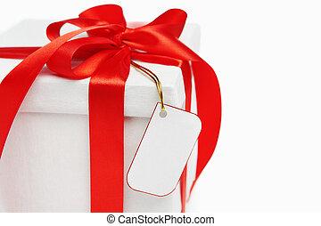 fehér, címke, karácsonyi ajándék, tiszta